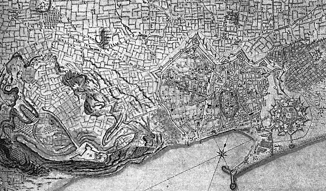 1740年のバルセロナ 引用出典=Barcelona: The Urban Evolution of a Compact City